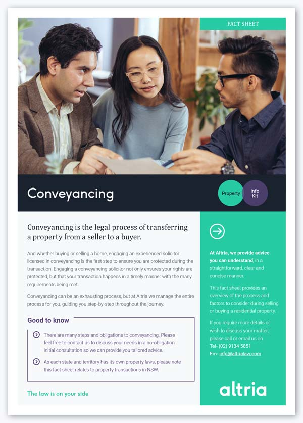Property law and conveyancing fact sheet Sydney