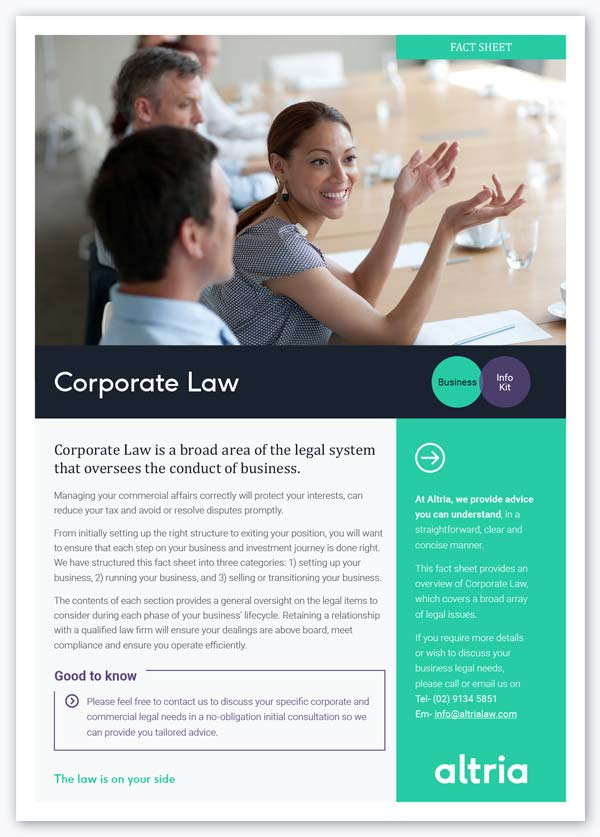 Altria Law's fact sheet provides useful information on corporate law, commercial law and business law