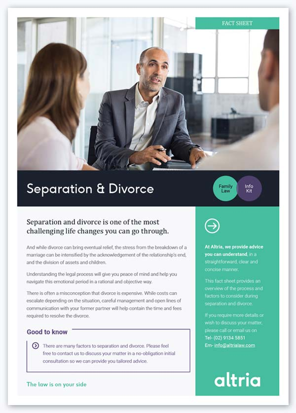 Divorce information by family law lawyers